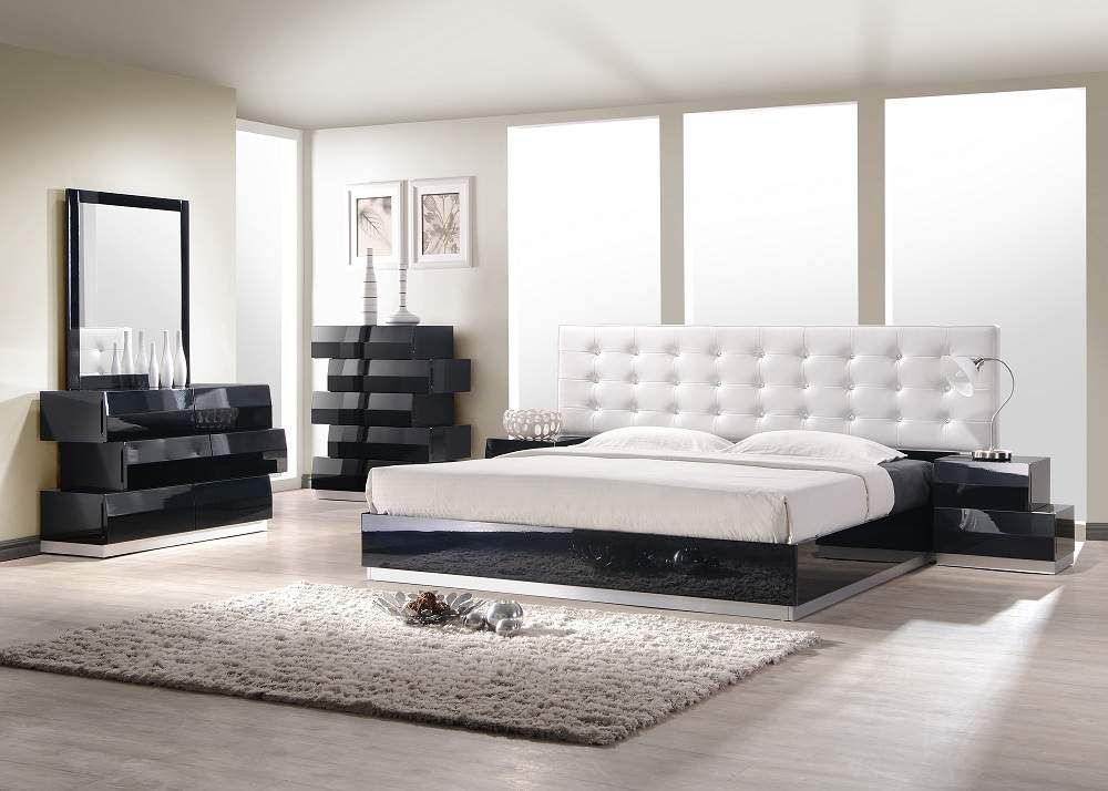 Milan Black Bedroom Set With White Headboard Bed