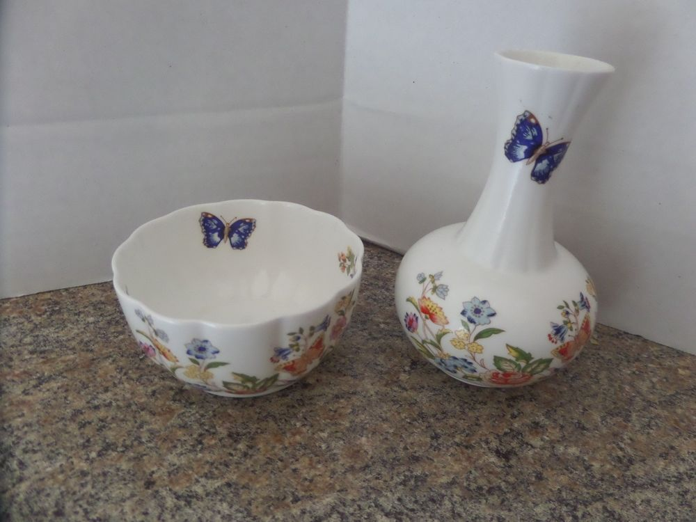 Vintage Aynsley China Cottage Garden Vase And Var I Ete Bowl