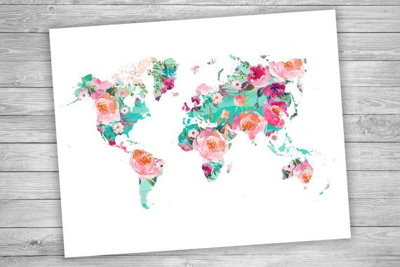 printable art world map floral watercolor world map geography print travel decor art. Black Bedroom Furniture Sets. Home Design Ideas