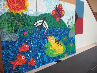 Sharpies, paint, and paper! Oh my!: We used around 13,000 bottle caps!!
