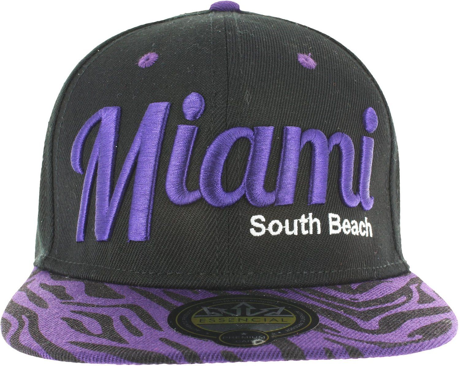 MIAMI ANIMAL PRINT ZEBRA SNAPBACK BASEBALL CAP - BLACK AND PURPLE at Amazon… 84995a14a724