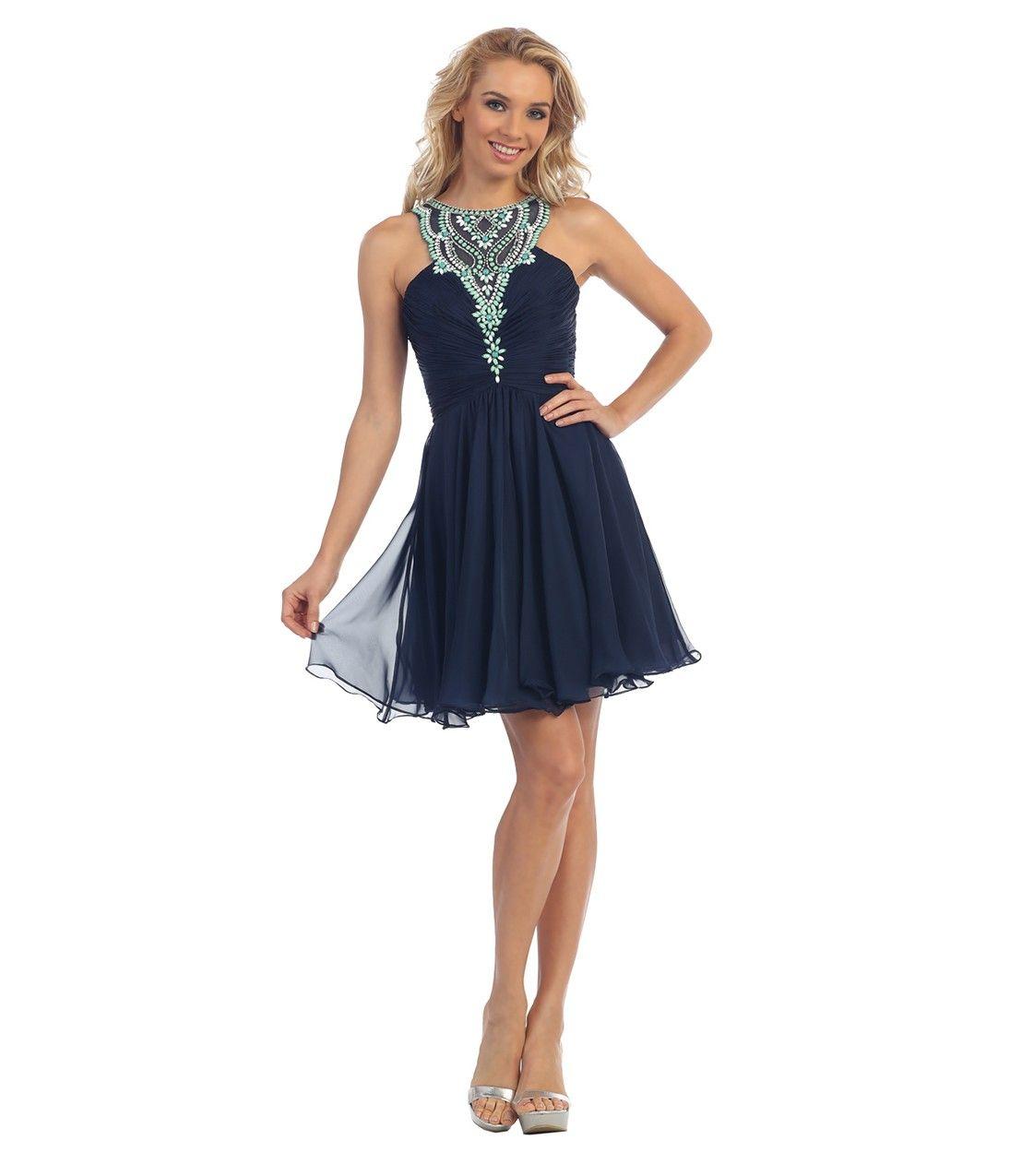 Navy blue chiffon embellished halter short dress prom