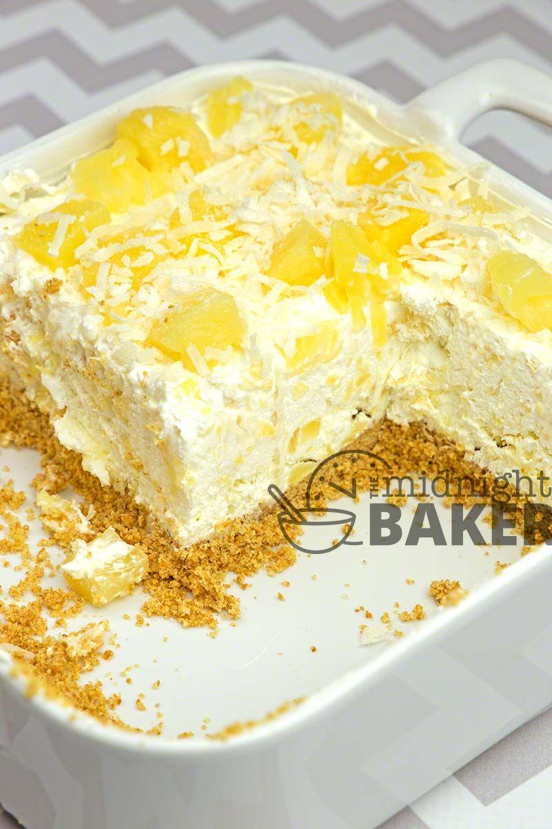 No-Bake Pineapple Cream Dessert - The Midnight Baker