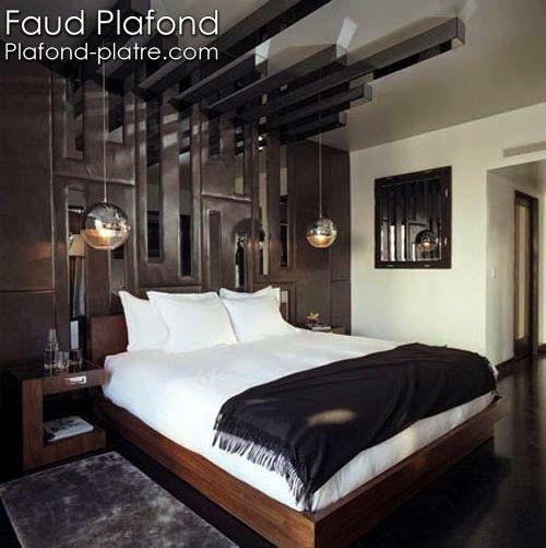 Un joli faux plafond suspendu avec un l gant design pour for Chambre a coucher style americain