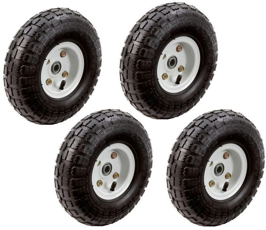 10 In Pneumatic Inflatable 2 Wheel Cart Hand Truck Replacement Tires 4 Pack Farmranch Garden Cart Reuse Old Tires Replacement Wheels