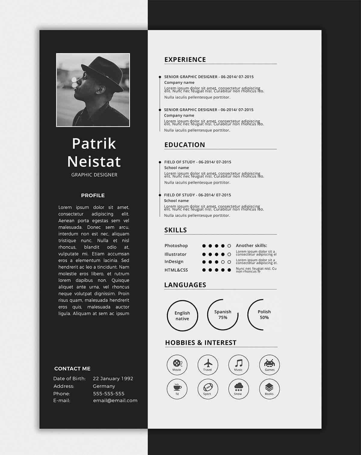 15 One Page Resume Templates Examples Of 1 Page Format With