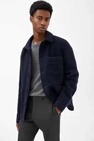 Wool Workwear Jacket - Dark Blue - Jackets & Coats - ARKET GB | Work wear,  Blue jacket, Men's coats and jackets
