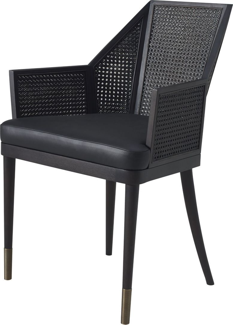 These classic dining chairs utilize traditional caning but ...