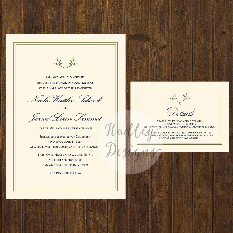 """Letterpress Hochzeitseinladung """"Chateau"""" INKLUSIVE TEXT"""
