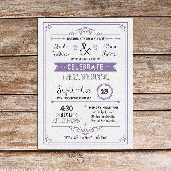 Chalkboard Rustic DIY Wedding Invitation   Invitation templates