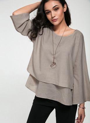 60a1a35e9f90f2 Solid Casual Cotton Linen Round Neckline Long Sleeve Blouses - Floryday    floryday.com