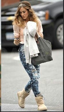 619ad94b7e3 Boho style. Sarah Jessica Parker in Ugg boots | jackets-generation-0 ...