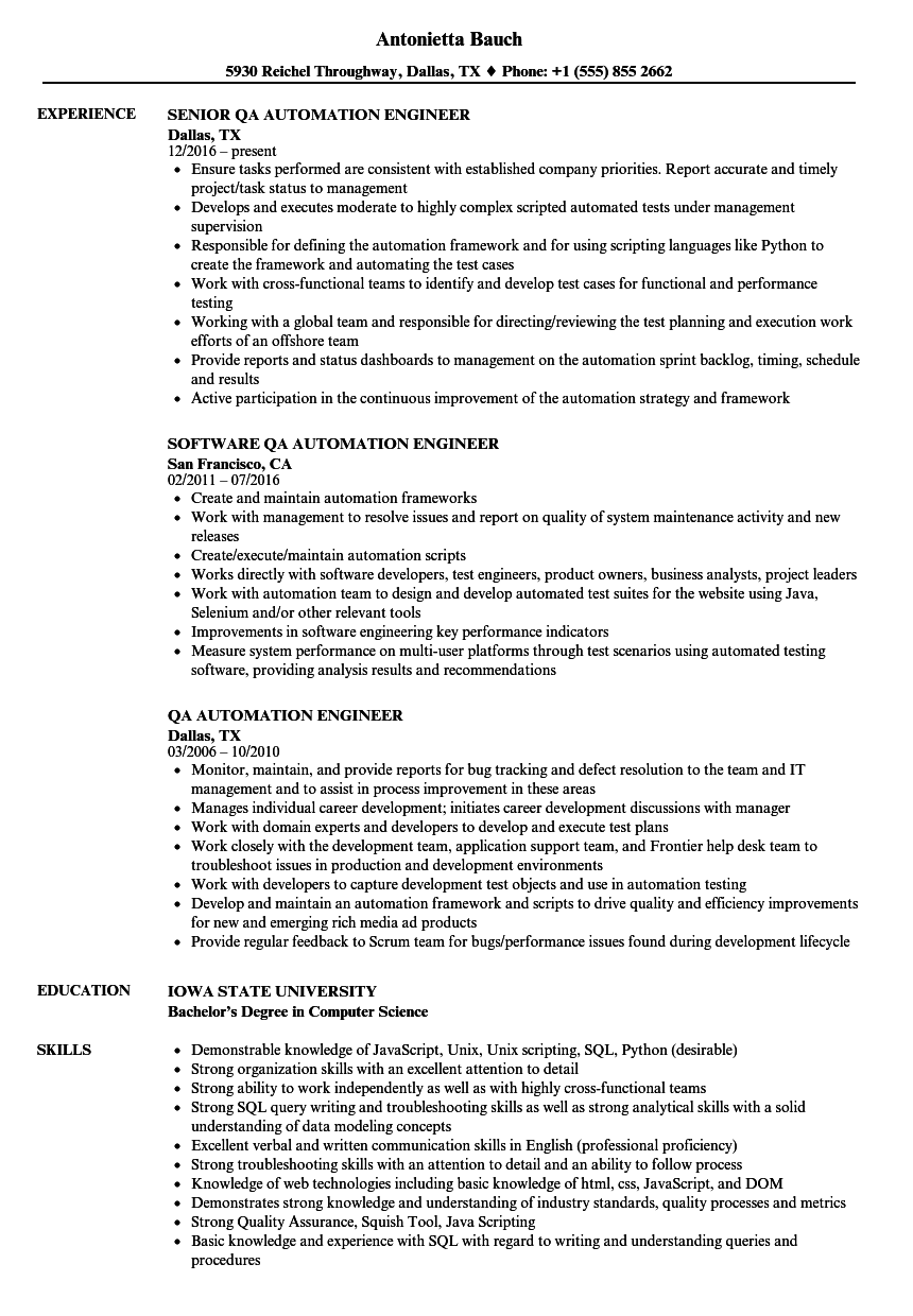 Cv Template Qa Engineer Resume Format Project Manager Resume Business Analyst Resume Good Resume Examples