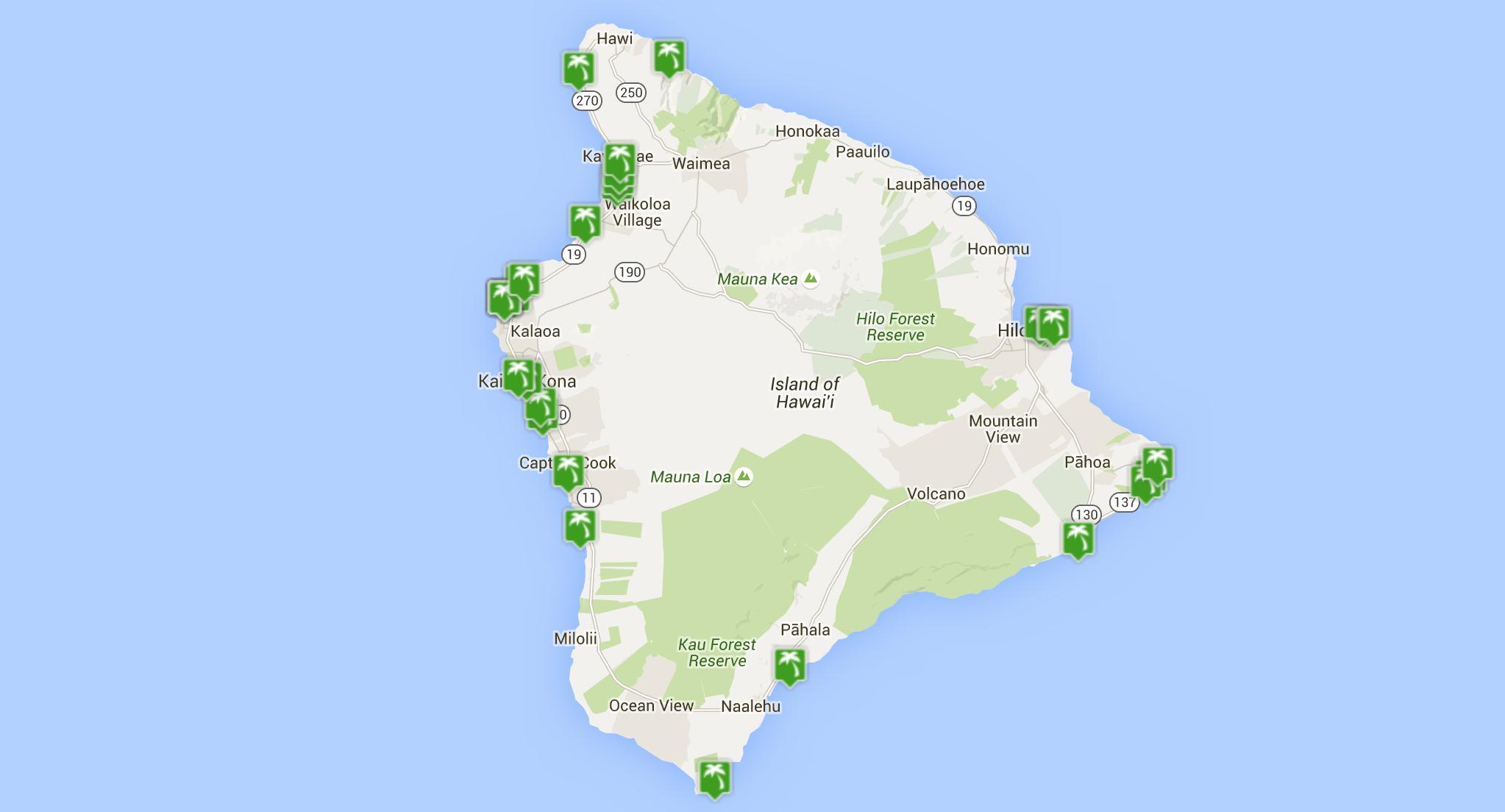 List of Beaches on the Big Island  Beach Map  Big island Beach
