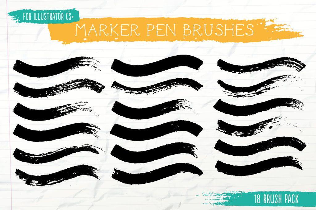 Marker Pen Brushes For Illustrator By Jeremychild Digital Design
