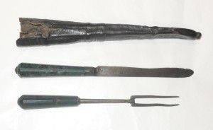 Early Knife And Fork In Traveling Case 16th Century Cutlery Knife
