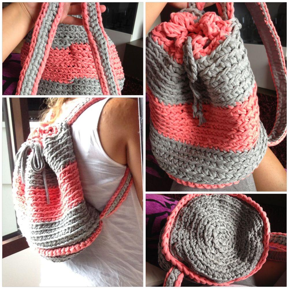 Mochila de trapillo a crochet handmade pinterest - Como hacer trapillo ...