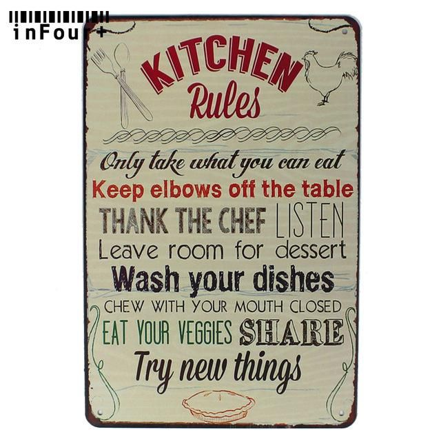 Kitchen Rules Vintage Metal Tin Signs Retro Plate Bar Art Decor Wall Poster