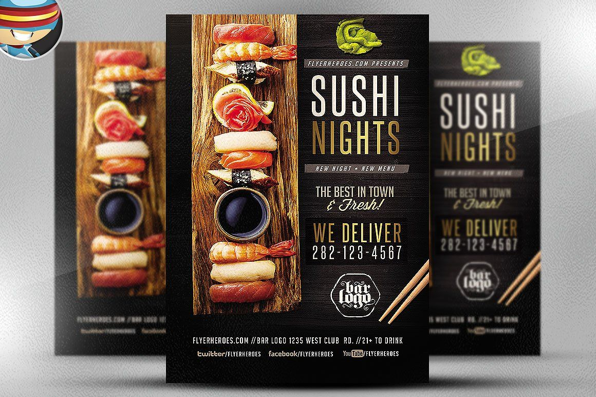 Sushi Nights Flyer Template By Flyerheroes On Creativemarket