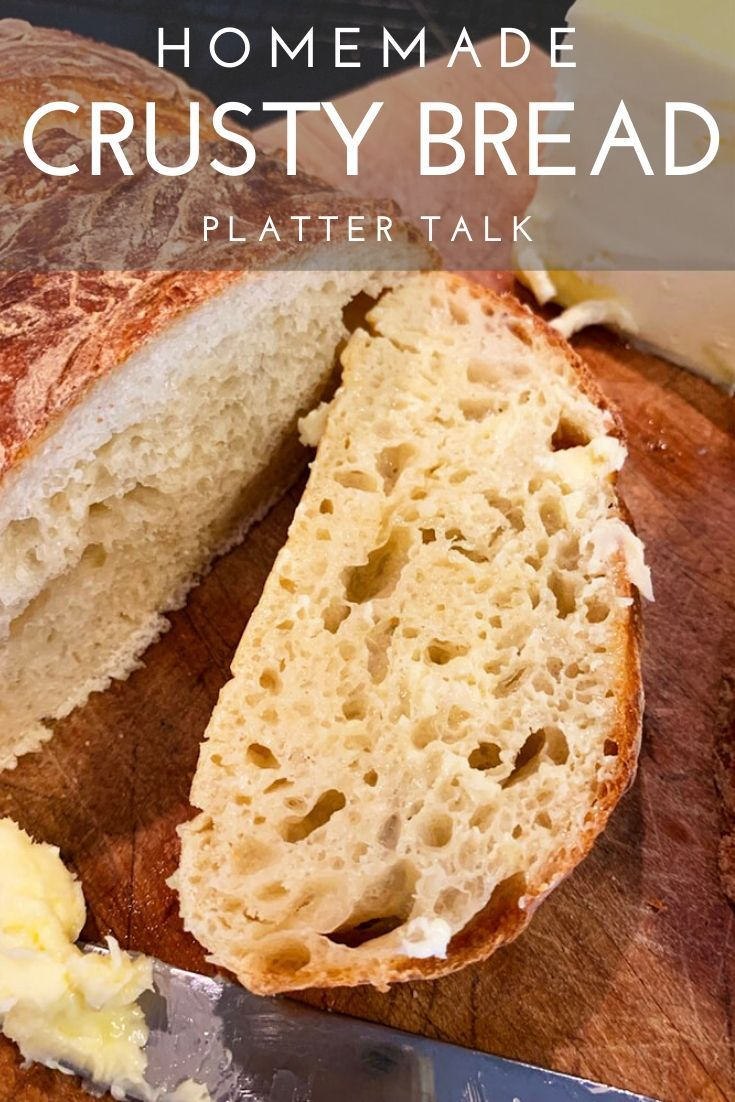 This easy artisan bread recipe from Platter Talk is an easy way to bring homemade bread into your kitchen. Make it in a Dutch oven or on a hot pizza stone, or even in a cast iron skillet, this Italian-like bread can be made in just a couple of hours. #plattertalk #easy #recipe #Italian #Dutchoven #castironskillet #noknead