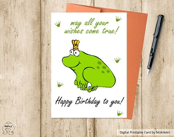 Instant Download,Printable Birthday Card ,Frog card,Digital - printable birthday card template