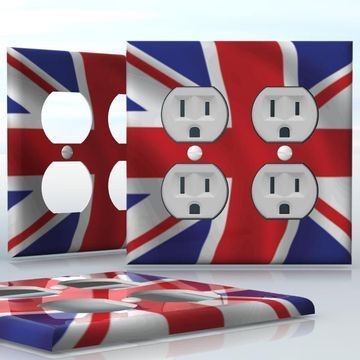 DIY Do It Yourself Home Decor - Easy to apply wall plate wraps   Union Jack  Wavy British Flag  wallplate skin sticker for 2 Gang Wall Socket Duplex Receptacle   On SALE now only $4.95