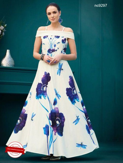 White & Blue Floral Pure Spandex Silk Gown | Shop for indian gowns ...