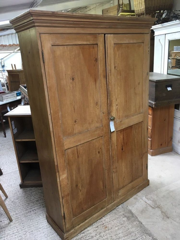 Old Victorian Tall Wide Large Pine Cupboard 78 034 High Four