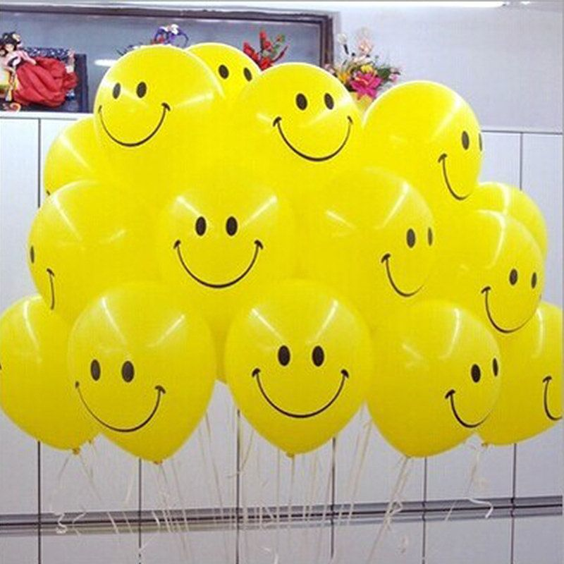 """12/"""" inch Helium Qualitys 10 to 100 Smiley Face Decorations balloons"""