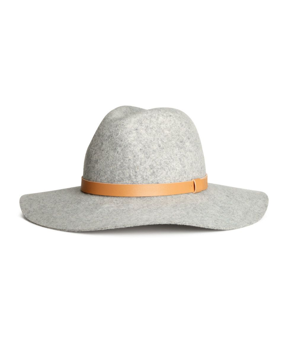 771d6633580f0 Gray brimmed hat with premium-quality felted wool   brown accent band.