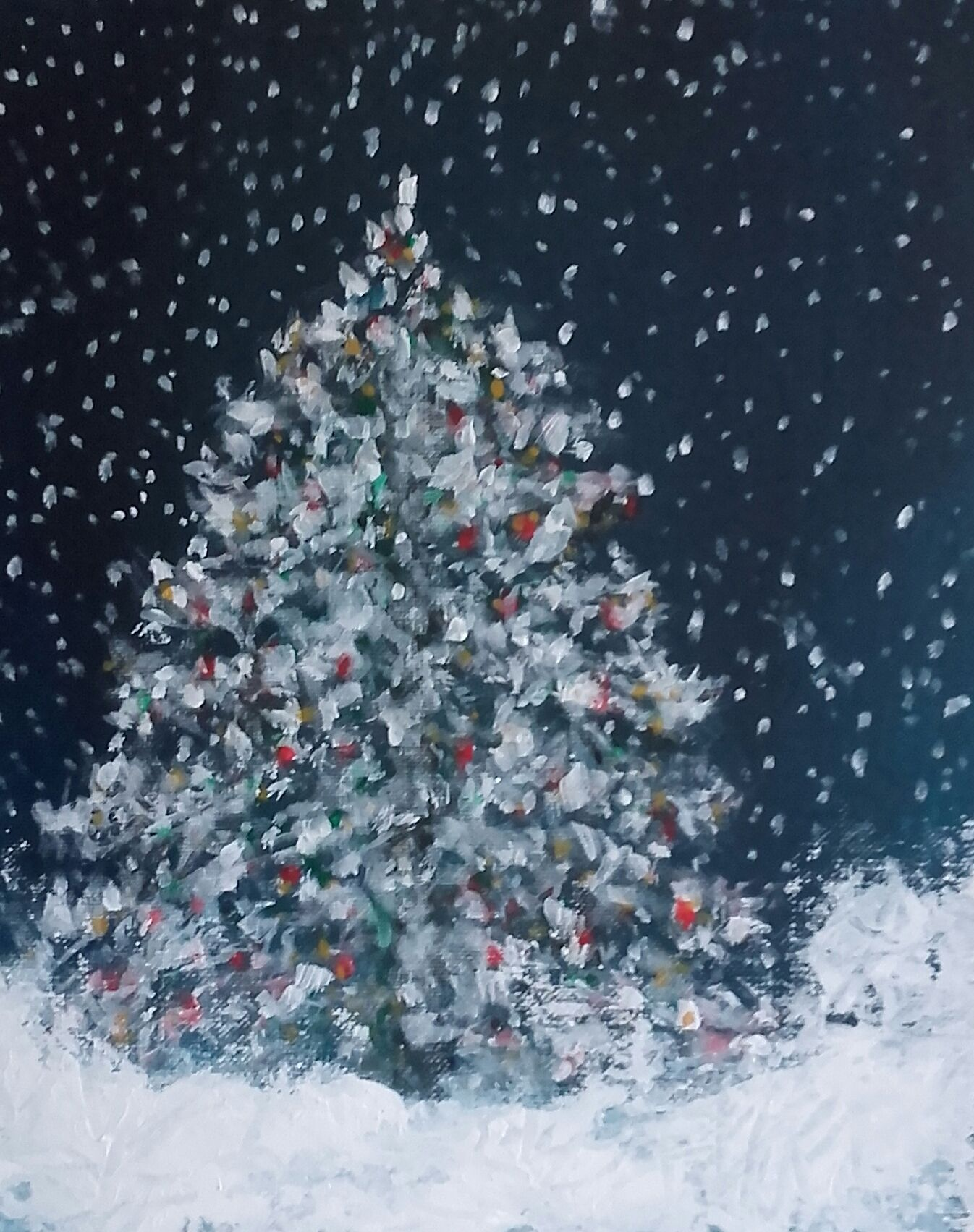 Kerstboom Schilderij Jeannette Van Welie Kerst Schilderijen Schilderij Kerstboom