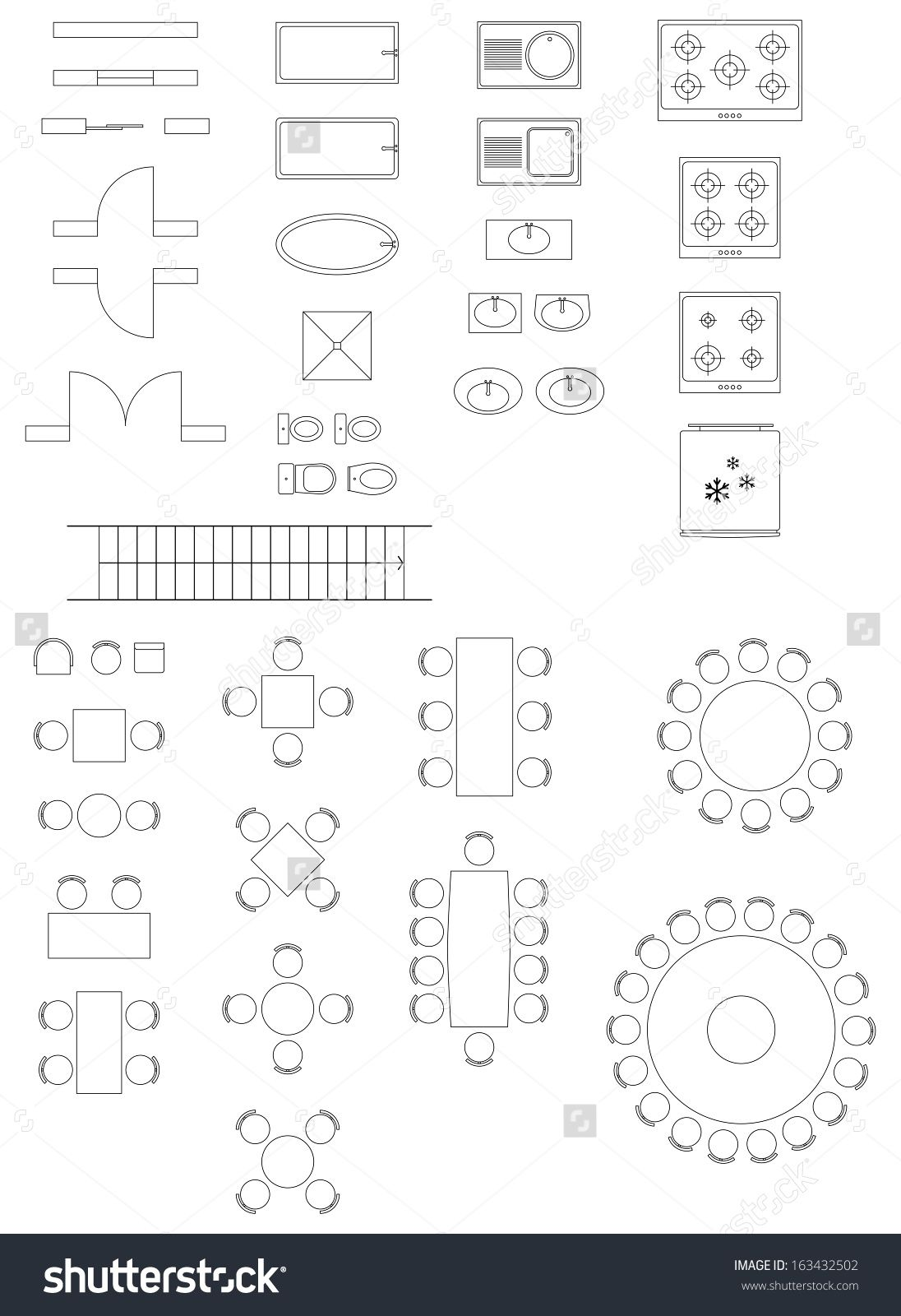 Stock Vector Standard Symbols Used In Architecture Plans Icons Set
