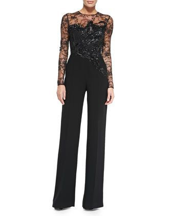 da185bd94554 Long-Sleeve Embroidered Lace Jumpsuit by Elie Saab at Neiman Marcus ...