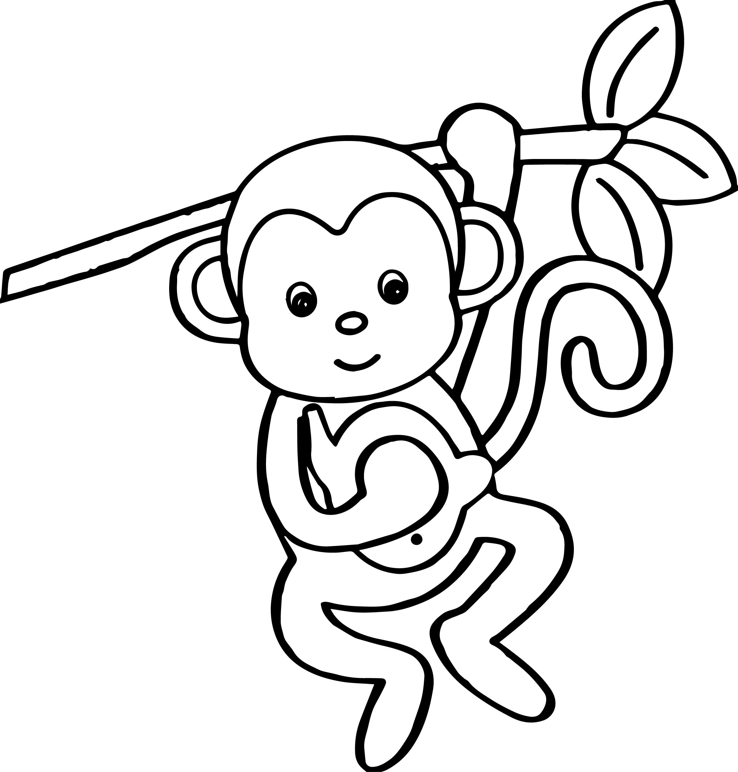 cool Cartoon Animals Kids Monkey Coloring Page Animal