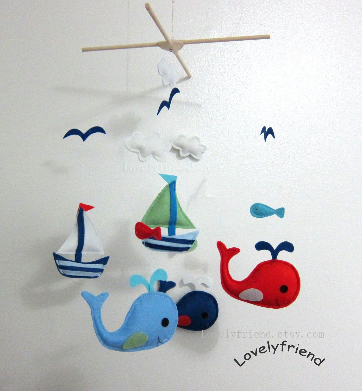 Ready To Ship Baby Mobile  Sailboats And Whales Mobile