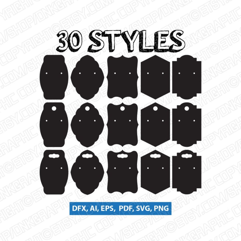 30 Styles Earring Display Cards Svg Earring Cards Svg Etsy Earring Cards Template Earring Cards Display Cards