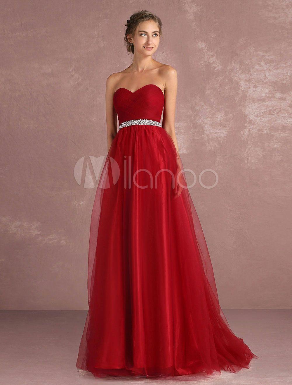 Tüll Abendkleid rot eine Linie Prom Dress trägerlose Schatz ...