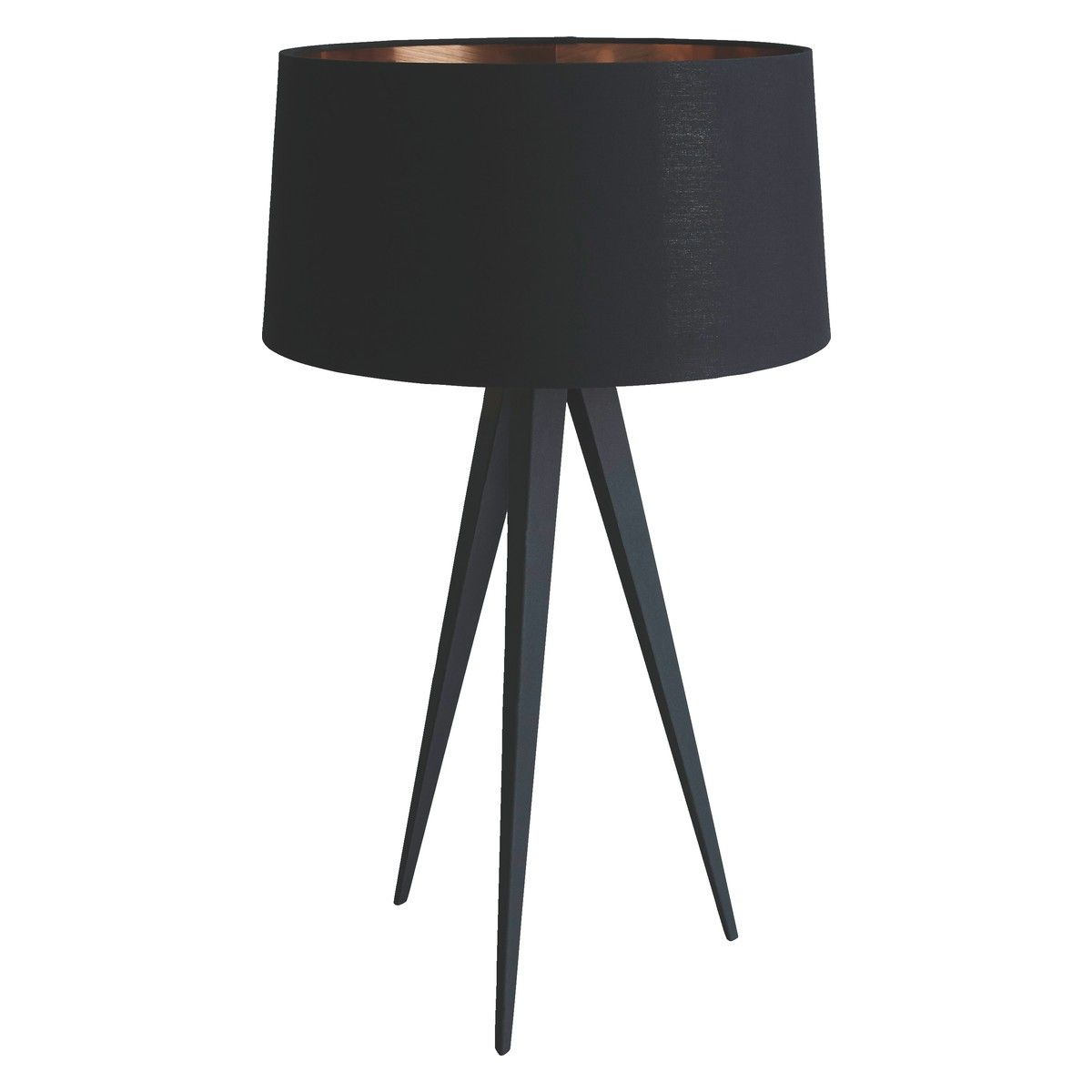 YVES Black tripod table lamp with black and copper shade ...