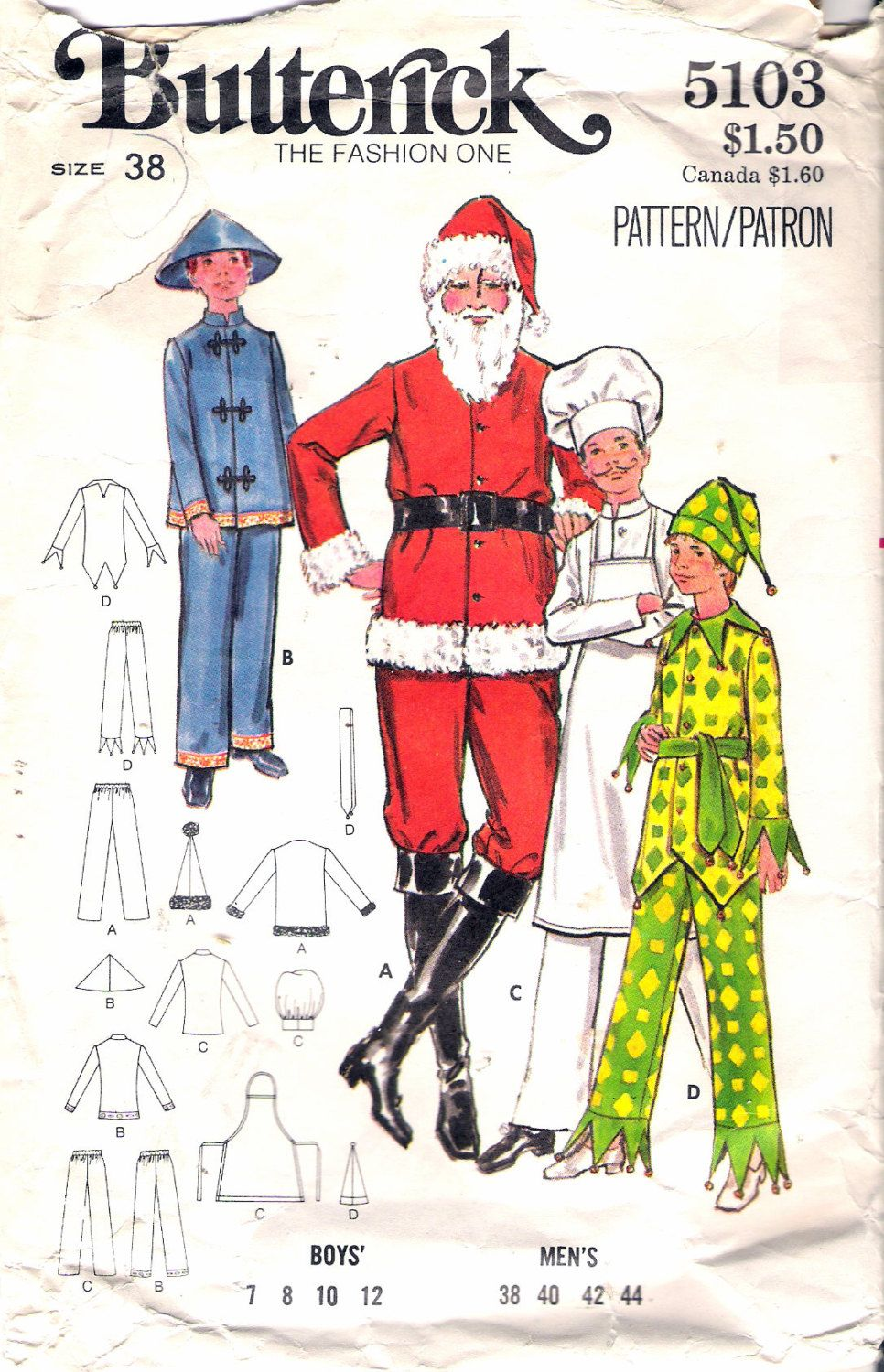 Vintage 1970s butterick 5103 boys costumes santa chinese man vintage 1970s butterick 5103 boys costumes santa chinese man chef jester sewing pattern size 38 chest jeuxipadfo Image collections