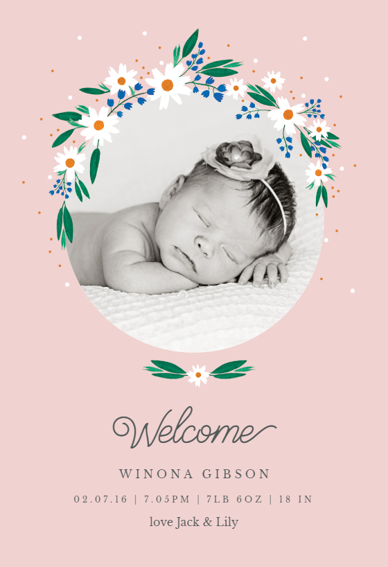 picture relating to Printable Birth Announcements Templates identified as Daisy - Delivery Announcement Template (No cost Start