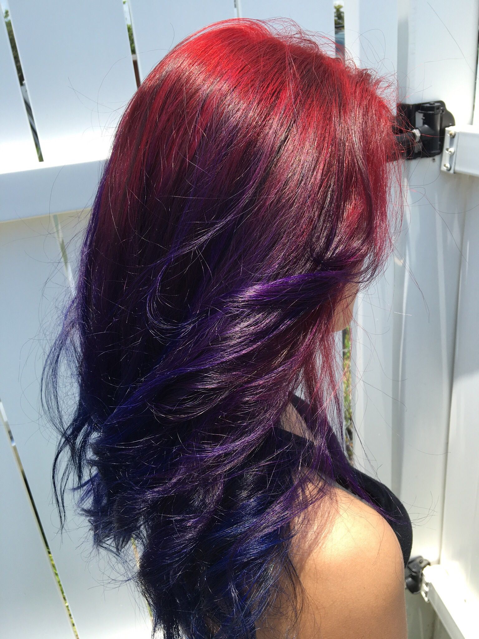 Ombre starting with red violet into purple then deep blue hair desktop and for mputer high quality