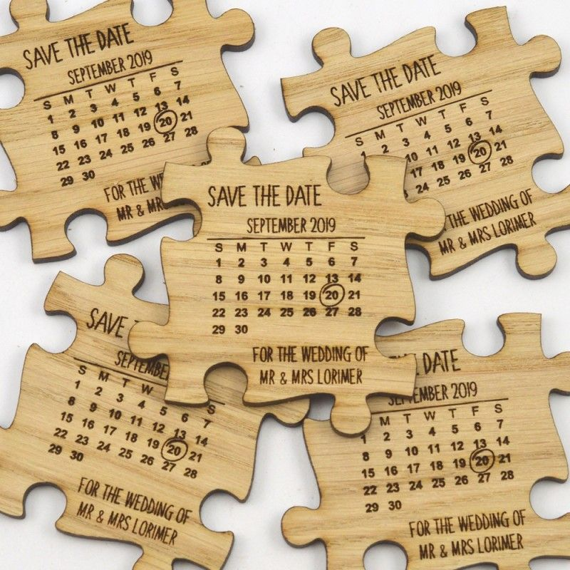Wedding Save The Date Wooden Jigsaw Puzzle Piece
