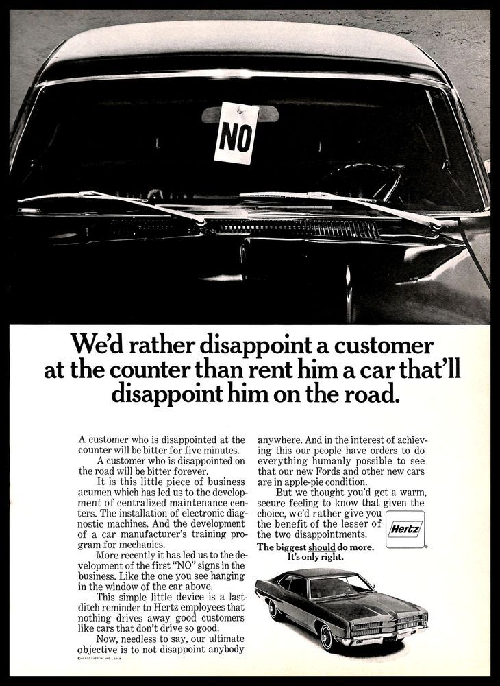 1968 Hertz Car Rental Vintage PRINT AD Driving