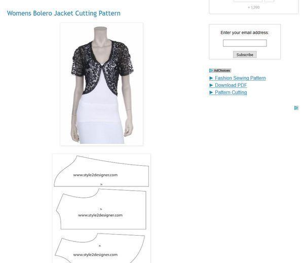 Free Patterns to Sew Boleros and Shrugs   Boleros, Free pattern and ...