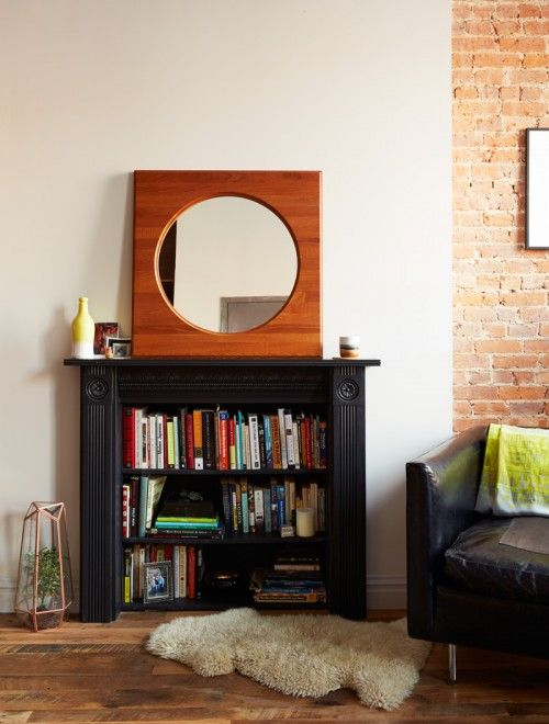 Turning An Old Mantel Into A Bookcase Is An Inspired Diy We D Like