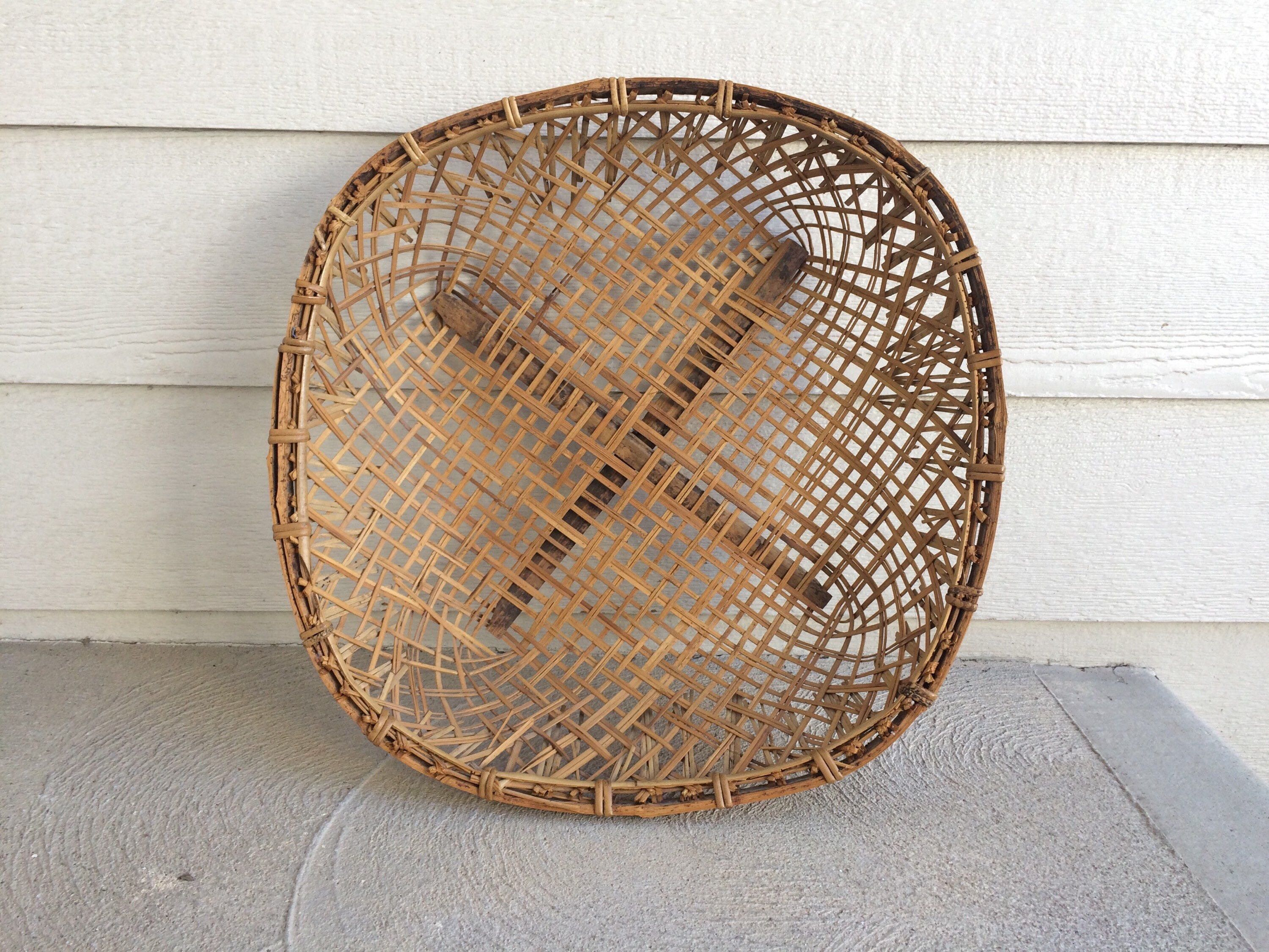 Extra large wall art rustic farmhouse basket vintage hand