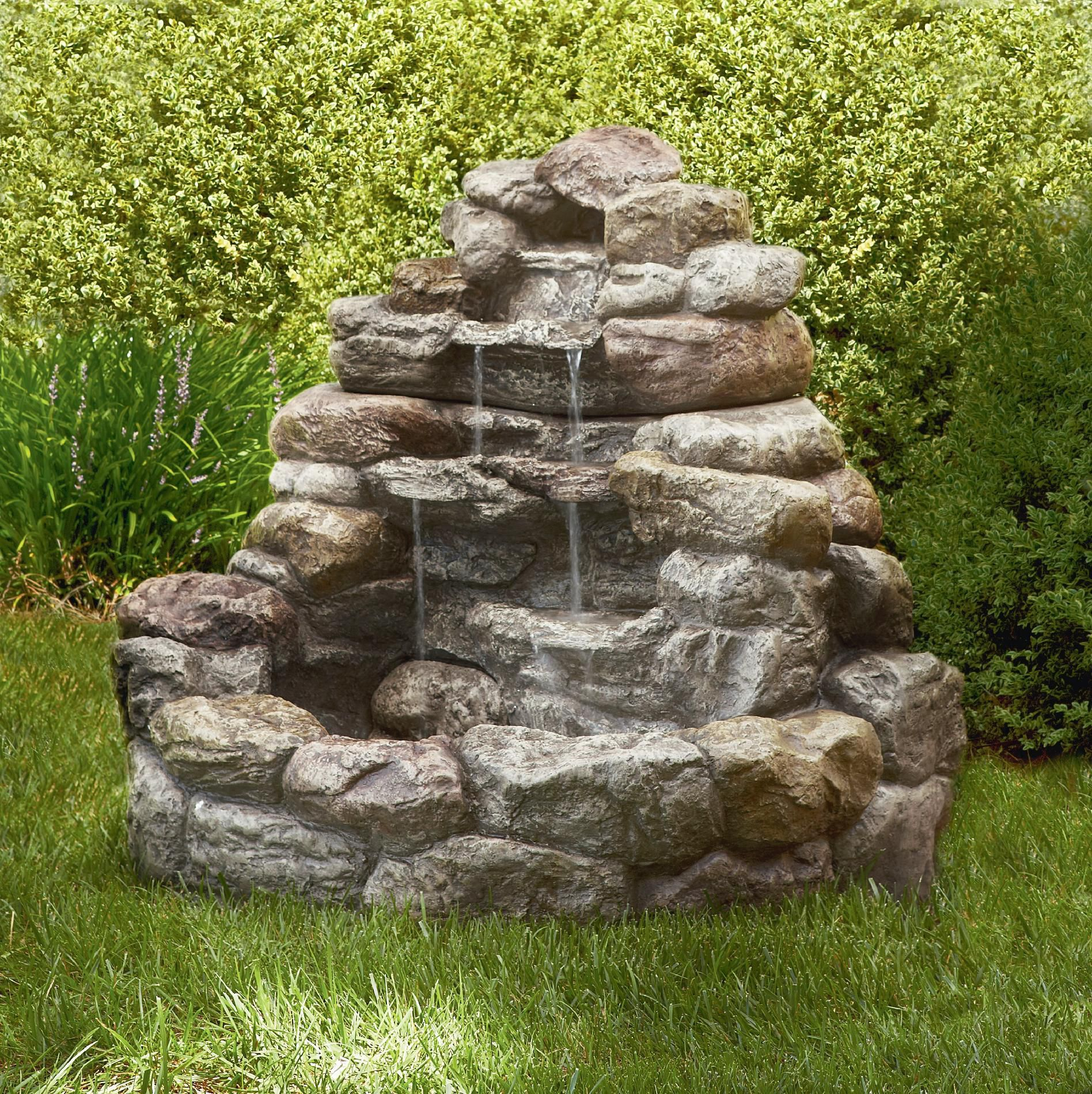 Large Lighted Rock Fountain Fountains Backyard Garden Water