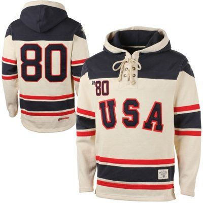 Old Time Hockey Usa Hockey 2014 Winter Olympics 1980 Sawyer Home Lace Pullover Hoodie Sweatshirt Cream Hockey Clothes Usa Hockey Pullover Sweatshirt Hoodie