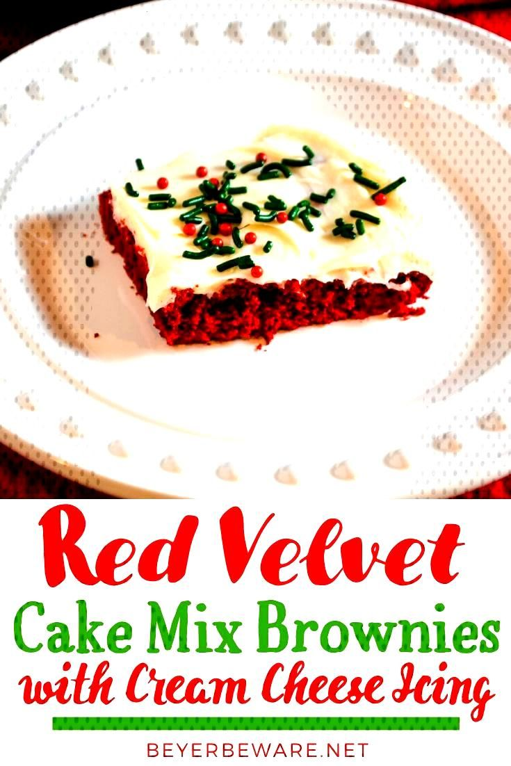Red Velvet Cake Mix Brownies with Cream Cheese Icing Red velvet cake mix brownies recipe topped wit