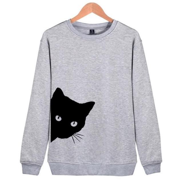 Women Cat Print Hoodie Sweatshirt Hooded Jumper Sweater Plus Size Pullover Tops